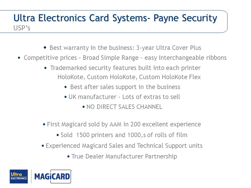 Ultra Electronics Card Systems- Payne Security USP's