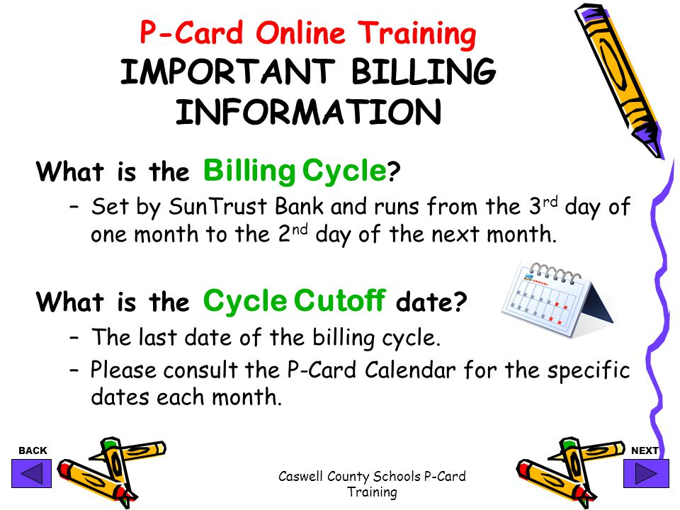 P-Card Online Training IMPORTANT BILLING INFORMATION