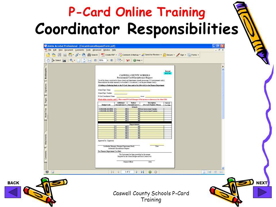 P-Card Online Training Coordinator Responsibilities