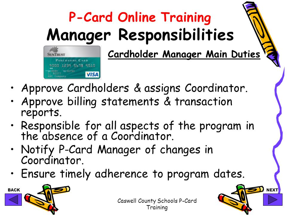 P-Card Online Training Manager Responsibilities