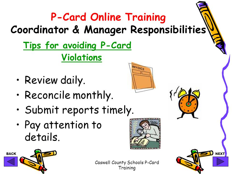 P-Card Online Training Coordinator & Manager Responsibilities