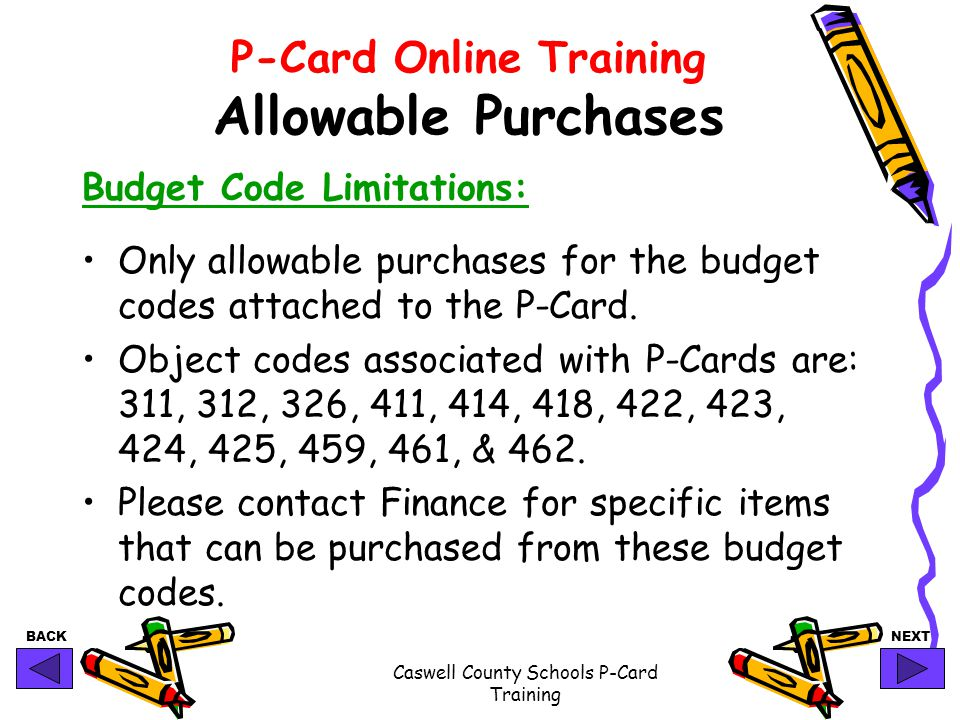 P-Card Online Training Allowable Purchases