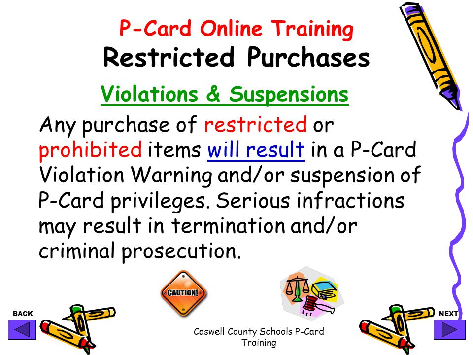 P-Card Online Training Restricted Purchases