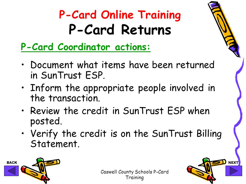P-Card Online Training P-Card Returns