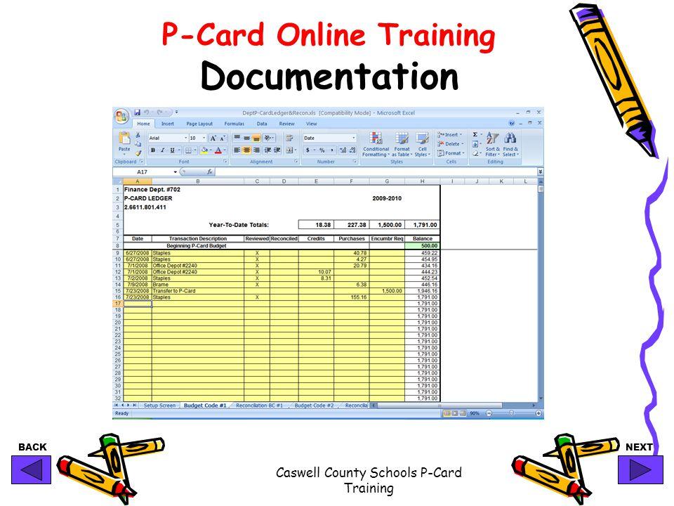 P-Card Online Training Documentation