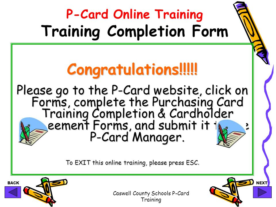 P-Card Online Training Training Completion Form