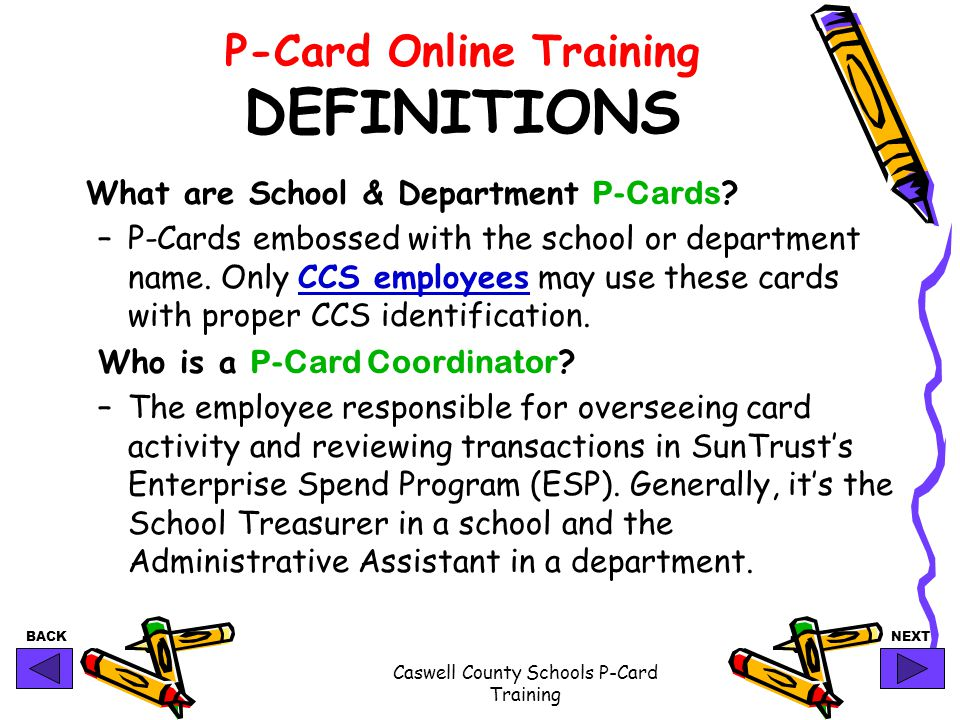 P-Card Online Training DEFINITIONS