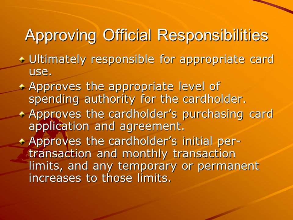Approving Official Responsibilities