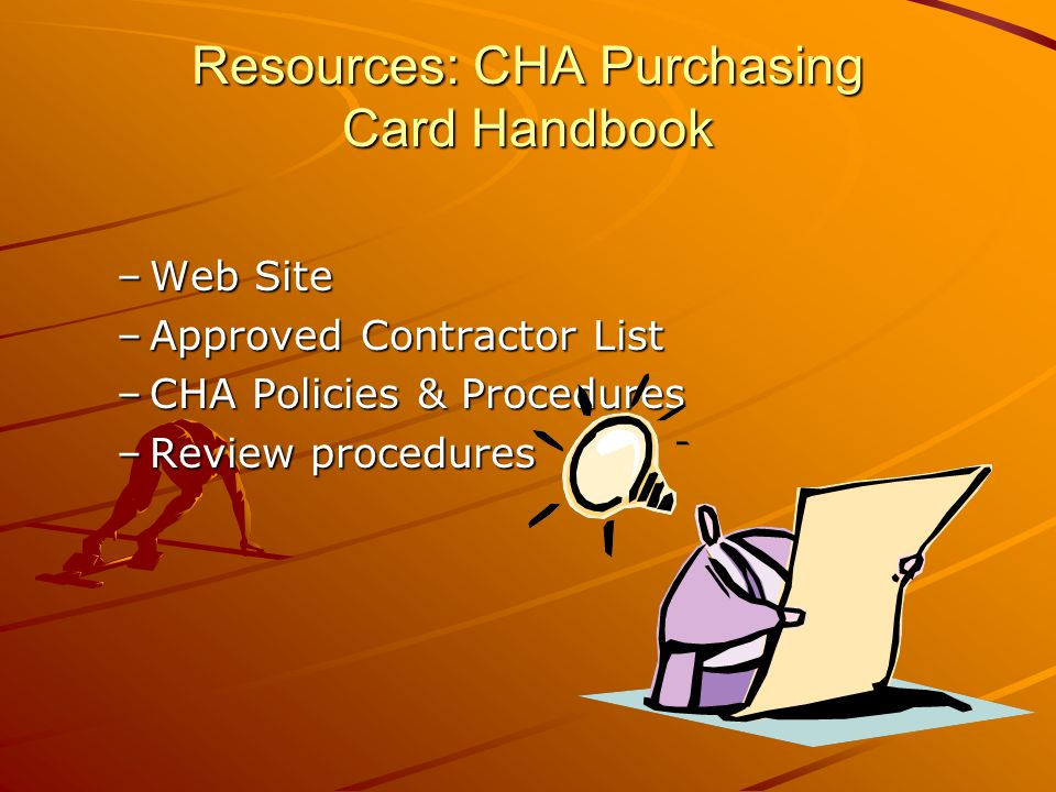 Resources: CHA Purchasing Card Handbook