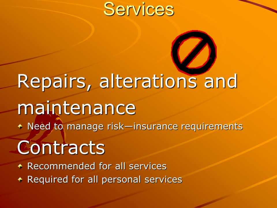 Repairs, alterations and maintenance Contracts