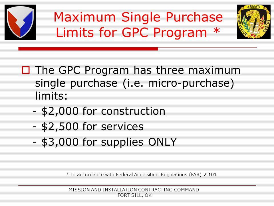 Maximum Single Purchase Limits for GPC Program *