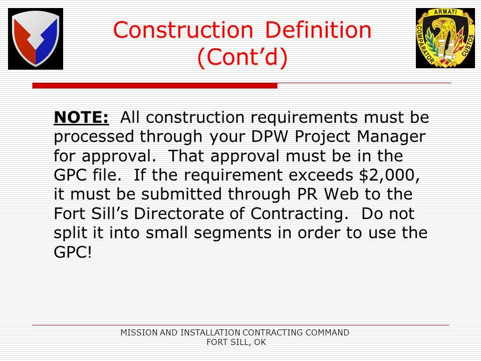 Construction Definition (Cont'd)