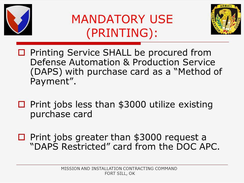 MANDATORY USE (PRINTING):