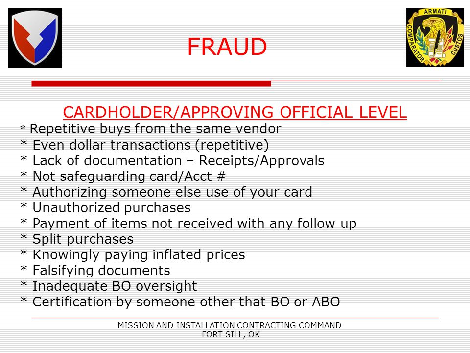FRAUD CARDHOLDER/APPROVING OFFICIAL LEVEL