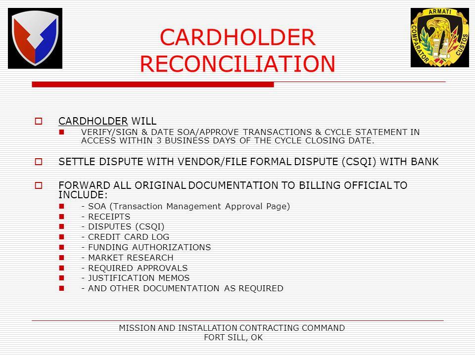 CARDHOLDER RECONCILIATION