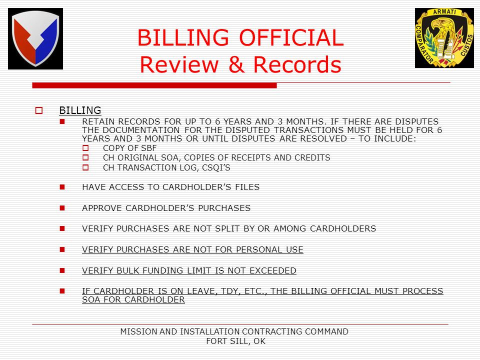 BILLING OFFICIAL Review & Records