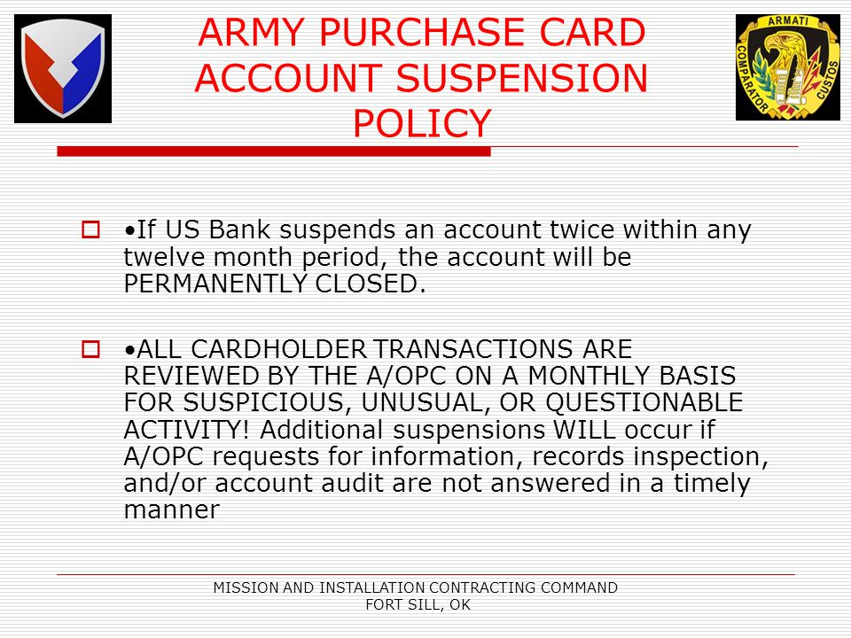 ARMY PURCHASE CARD ACCOUNT SUSPENSION POLICY