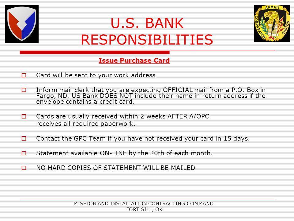 U.S. BANK RESPONSIBILITIES