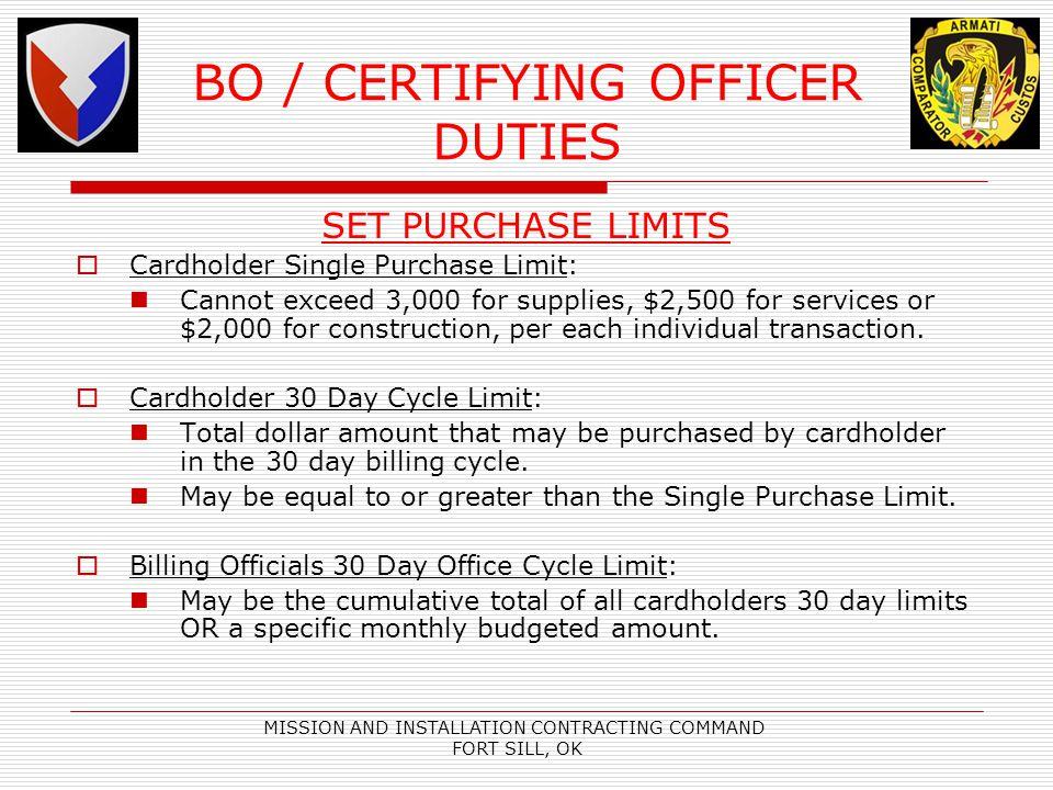 BO / CERTIFYING OFFICER DUTIES