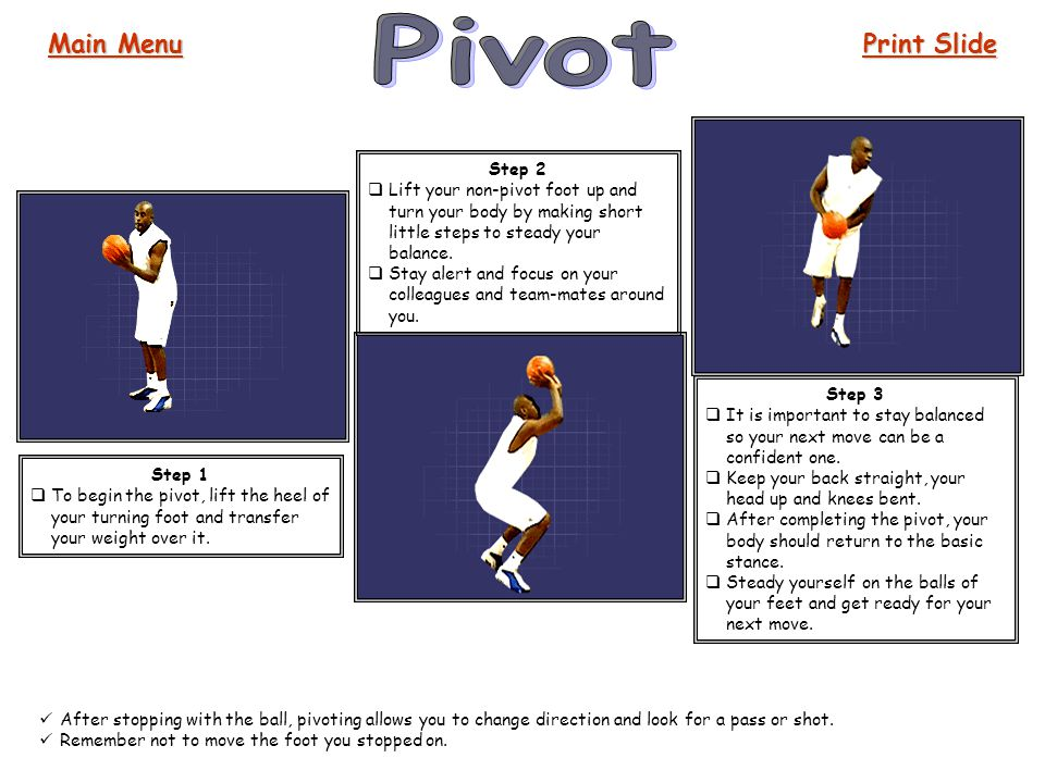 Pivot Main Menu Print Slide Step 2