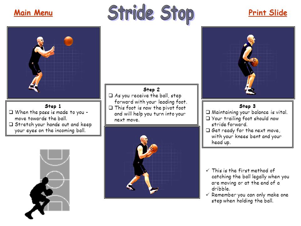 Stride Stop Main Menu Print Slide