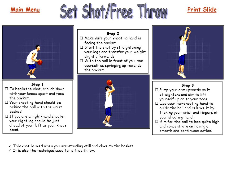 Set Shot/Free Throw Main Menu Print Slide Step 2