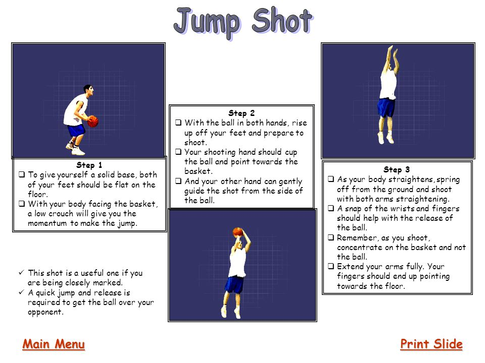 Jump Shot Main Menu Print Slide Step 2