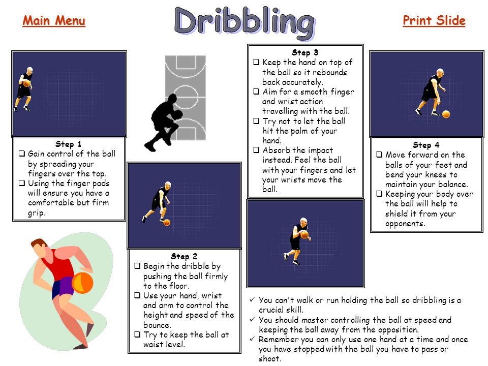 Dribbling Main Menu Print Slide Step 3