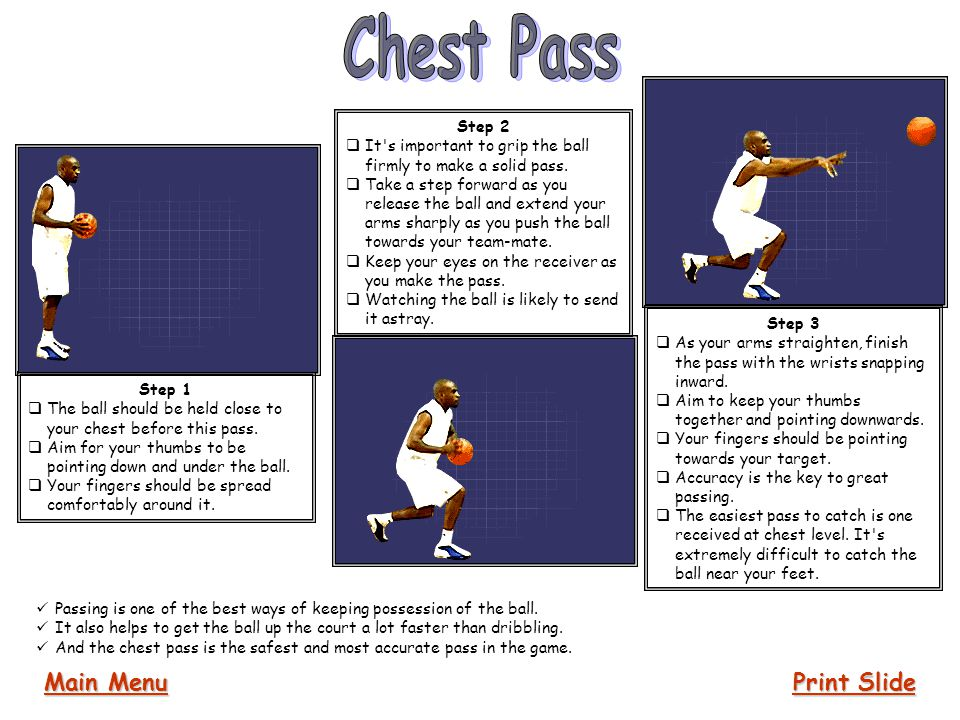Chest Pass Main Menu Print Slide Step 2