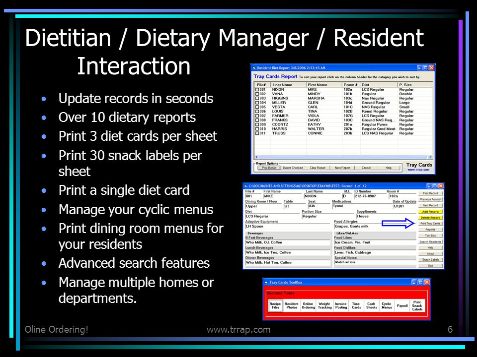 Dietitian / Dietary Manager / Resident Interaction