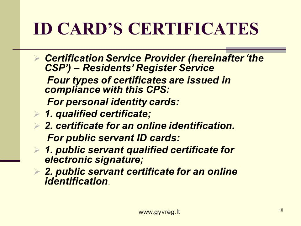 ID CARD'S CERTIFICATES