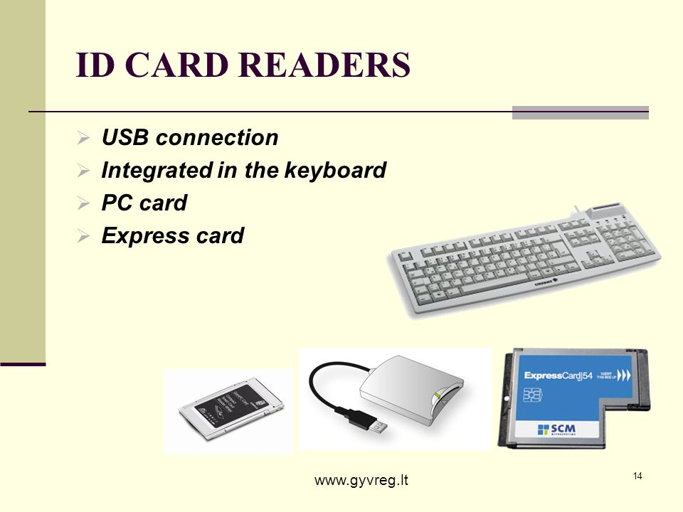 ID CARD READERS USB connection Integrated in the keyboard PC card