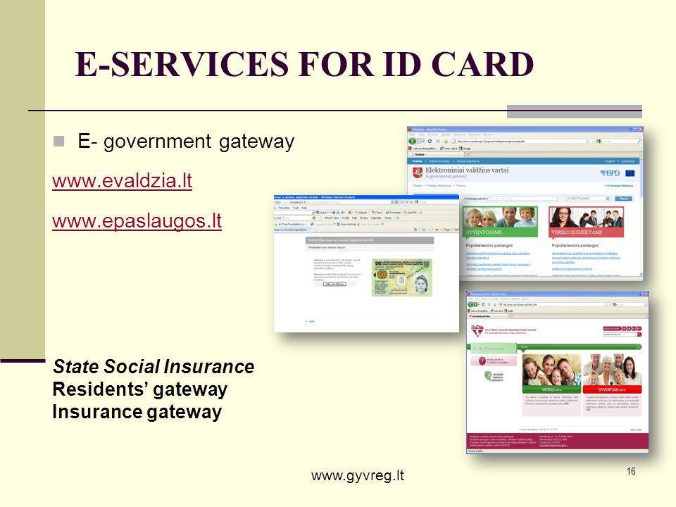 E-SERVICES FOR ID CARD E- government gateway www.evaldzia.lt