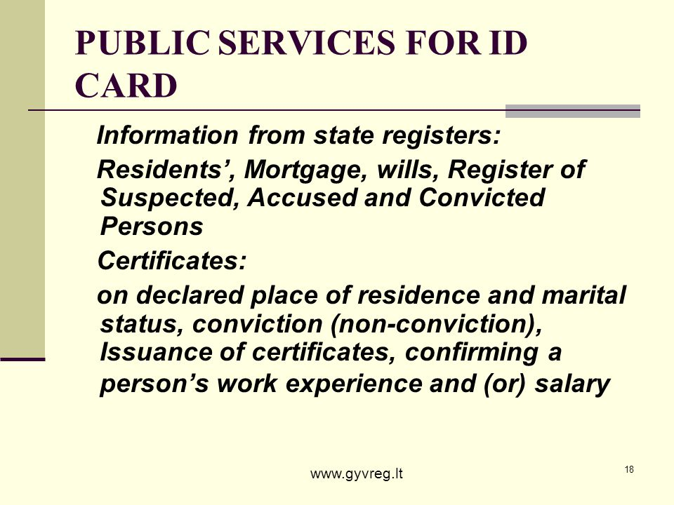 PUBLIC SERVICES FOR ID CARD