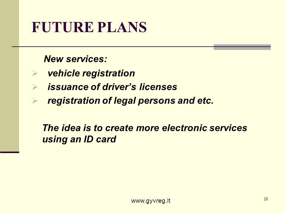 FUTURE PLANS New services: vehicle registration