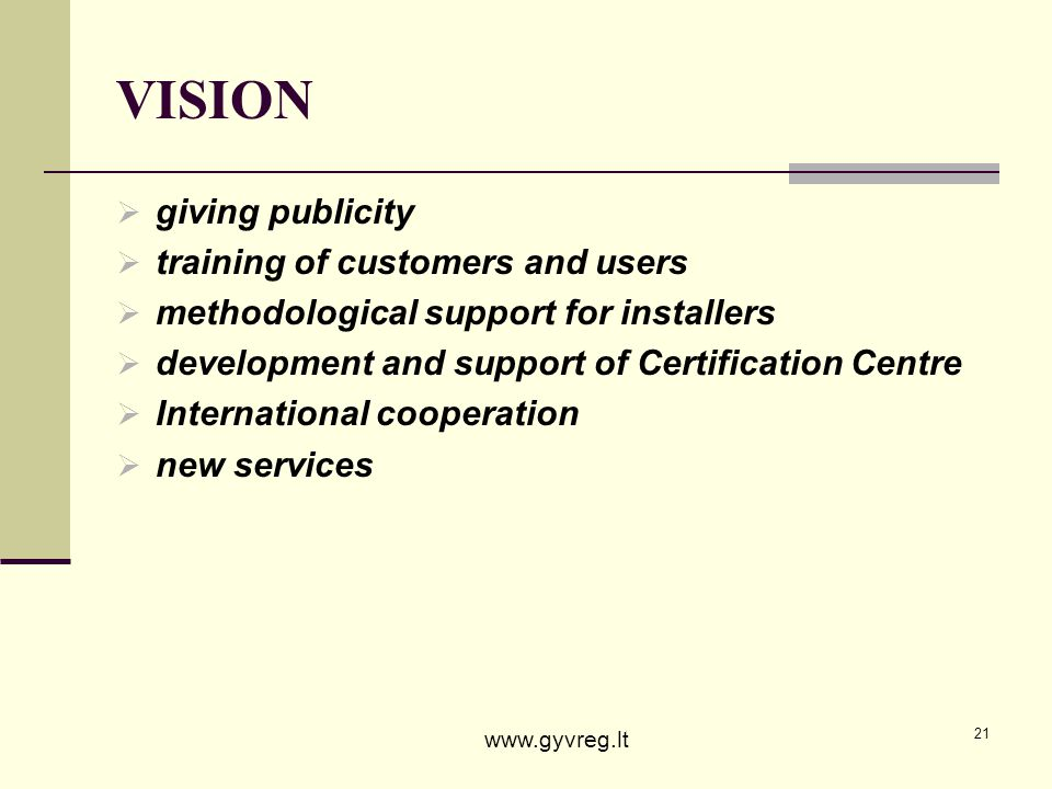 VISION giving publicity training of customers and users