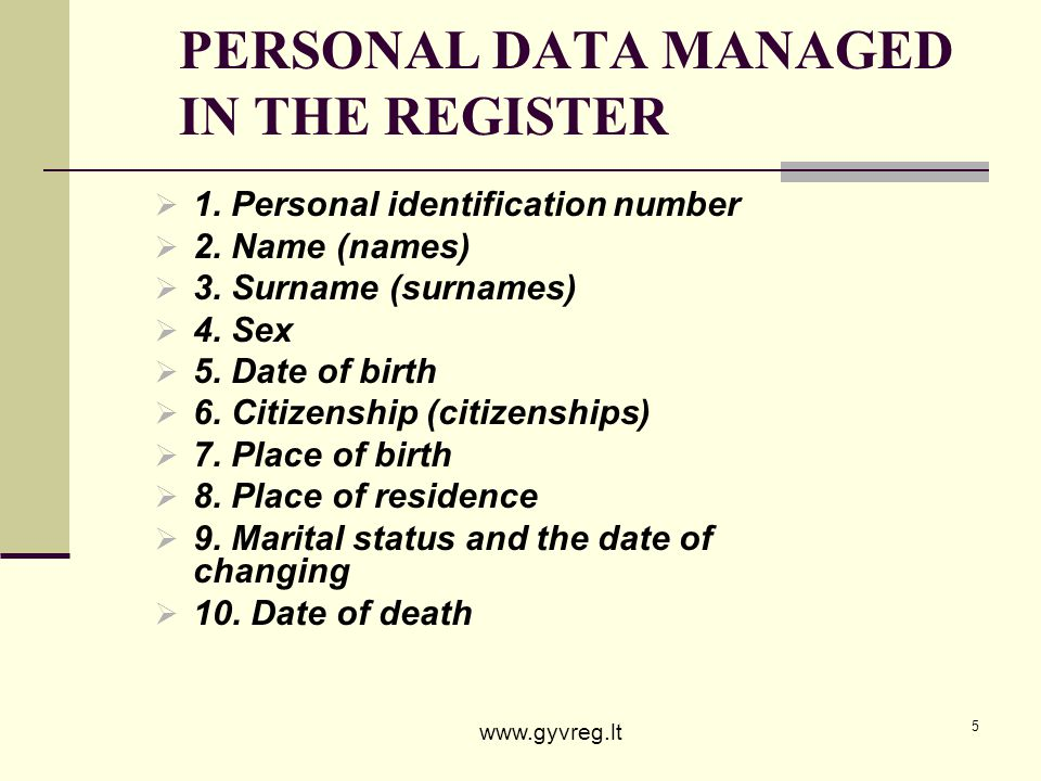 PERSONAL DATA MANAGED IN THE REGISTER