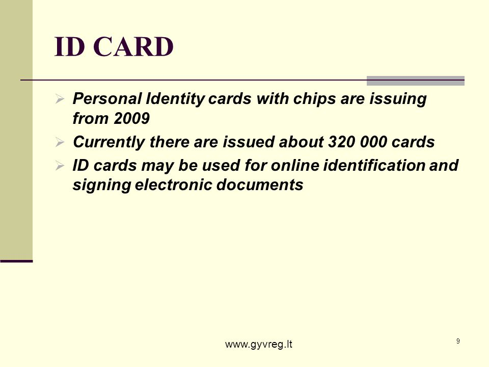 ID CARD Personal Identity cards with chips are issuing from 2009