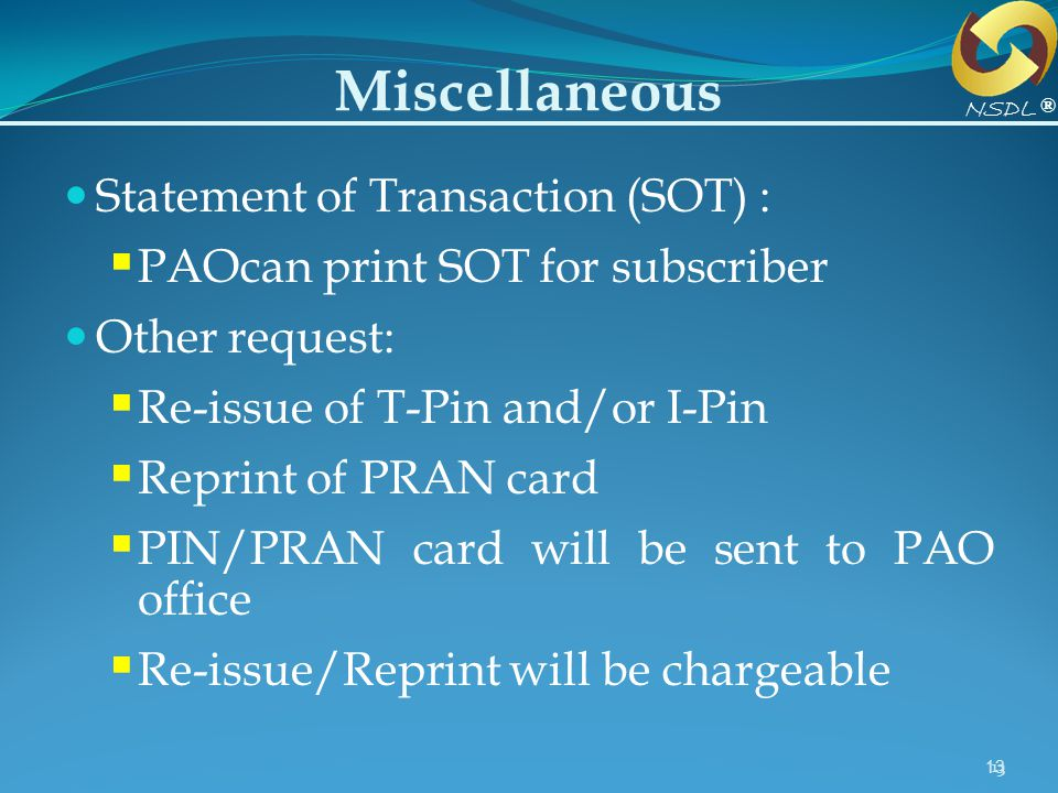 Miscellaneous Statement of Transaction (SOT) :