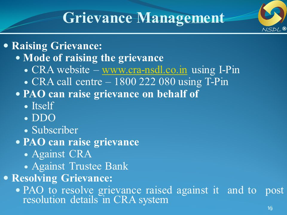 Grievance Management Raising Grievance: Mode of raising the grievance
