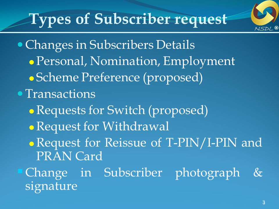 Types of Subscriber request