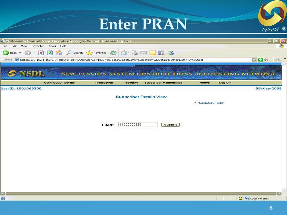 Enter PRAN NSDL ® Enter structurally valid PRAN.