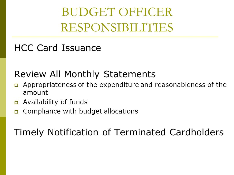 BUDGET OFFICER RESPONSIBILITIES