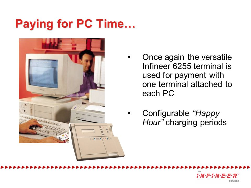 Paying for PC Time… Once again the versatile Infineer 6255 terminal is used for payment with one terminal attached to each PC.