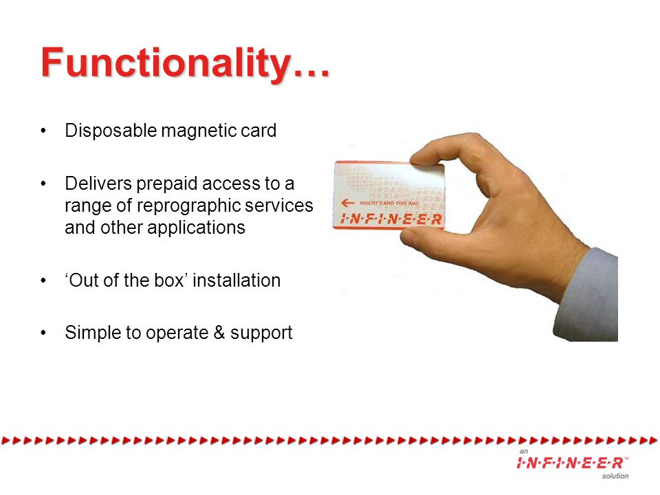 Functionality… Disposable magnetic card