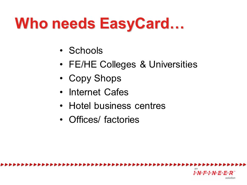 Who needs EasyCard… Schools FE/HE Colleges & Universities Copy Shops