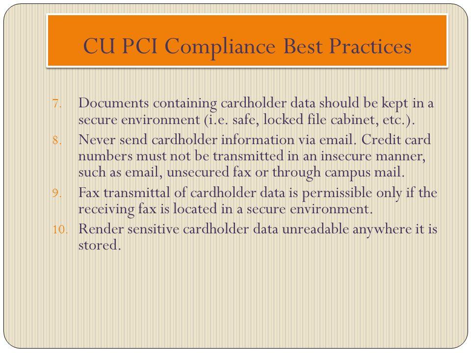 CU PCI Compliance Best Practices