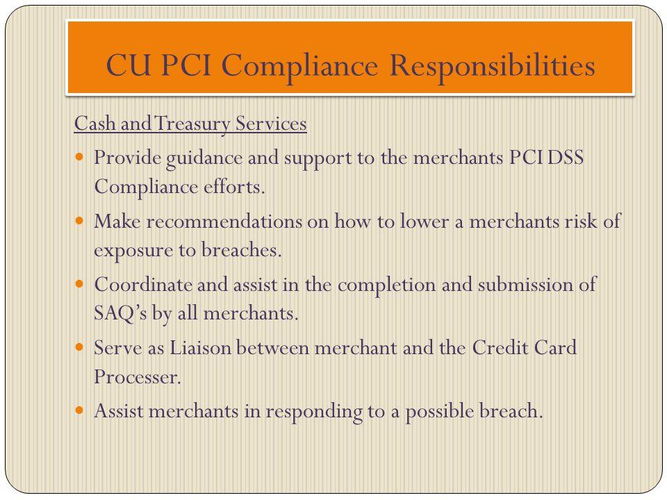 CU PCI Compliance Responsibilities
