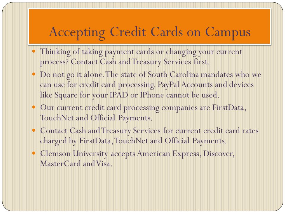 Accepting Credit Cards on Campus