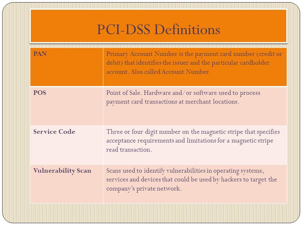 PCI-DSS Definitions PAN